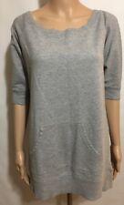 Norma Kamali Women Size Small Gray Shirt Top Tunic Scoop Pocket Grey Pullover