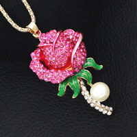 Betsey Johnson Fuchsia Enamel Crystal Rose Flower Pendant Sweater Chain Necklace