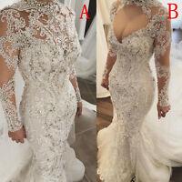 Two Styles Luxury Rhinestone Bead Wedding Dresses Sheer Long Sleeve Bridal Gowns