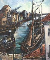 Oil Painting Signed Ships in the Port Berlin Zehlendorf 22 3/8x18 7/8in