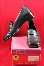 AEROSOLES Little Time Black Leather Loafer Wedge Heels Shoes Size 8 W