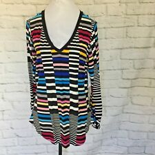 Bisou Bisou Womens XL top shirt tunic Patched Stripe long sleeve multi color NWT