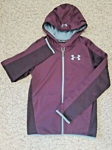 WN  Under Armour Youth Extra Large YXL Maroon & Gray Poly Hoodie Fleece Lined