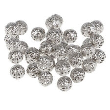 100 Pcs Silver Plated Hollow Filigree Round Ball 8mm Metal Spacer Beads DIY