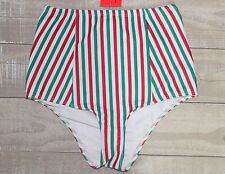 NWT American Apparel Women's High Waist Swim Bottoms Green Red Stripe Size SMALL