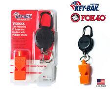 "Key-Bak SIDEKICK Retractable 24"" Cord Key Holder With Fox 40 Safety Whistle"