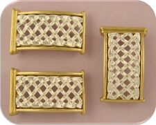 2 Hole Beads Lattice Woven Bars with Gold & Silver Plated Metal  ~ Sliders QTY 3