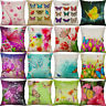 18'' Flower Butterfly Print Pillow Case Cotton Linen Cushion Cover Home Decor