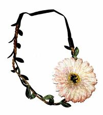 FLOWER & LEAF GARLAND ALICE BAND HAIR HEAD HEADBAND TAN PLAIT & BLACK ELASTIC