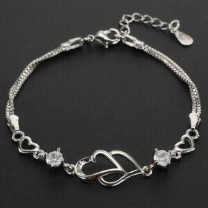 925 Silver Open Heart Bracelet Womens Lady Fashion Charm Jewellery Amethyst Gift