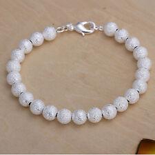 Bracelet pour femmes Boule mat 7mm 20cm pl. avec Argent sterling DA145 T A