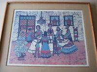 "Amos Amit ""Sabbath"" Original Batik Print, Limited Edition 23/375, Signed, Framed"