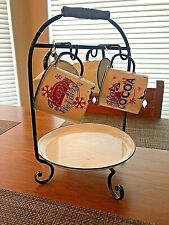 RUSTIC HOLIDAY METAL MUGS, HOLDER, PLATE - Display ONLY - Set of 4 - NEW  (5677)