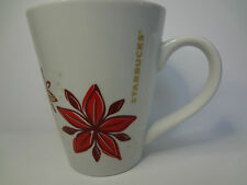 Starbucks 2013 Tapered 14 Ounce Holiday Christmas Poinsetta Coffee Mug Cup