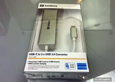 Sandberg 136-03 USB-C to 3 x USB 3.0 Converter-ideal para macbook con Dock, nuevo