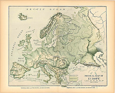 """Original 1903 Antique Map Europe Physical Map Dodd Mead & Co. 12X10"""""""