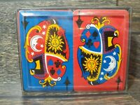 Vintage United States Playing Card Company Double Deck w/Case Blue Red Sun Moon