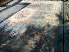 More details for large  rug-144 x 97ins-hand woven & knotted- warm shades-cream/blue-oriental-vgc