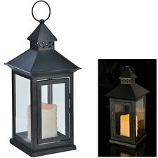 Metall-Laterne Metalllaterne mit LED-Kerze mit gelber LED 15x15x34 cm schwarz