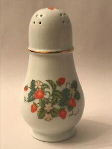 Avon Sugar Shaker Strawberry Vintage Porcelain 22k Gold Trim Brazil 1978