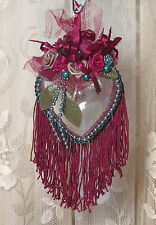 Burgundy Victorian Heart Hanging Christmas Ornament - Vintage Style HR-6