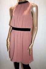 LUXE Brand Dusty Pink Chiffon Beaded High Neck Dress Size 18 BNWT #TQ59