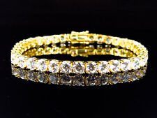 Yellow Gold Finish Sterling Silver Simulated Diamond Large 1 Row Bracelet 4.8MM