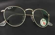 Ray-Ban Round Polarized Green G-15 Lens Gold Frame RB3447 112/58 50-21 NEW