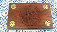 NEW WOODEN PENTAGRAM PAGAN, TAROT, WICCA, BOX