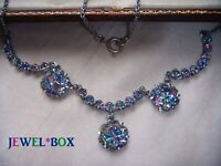 EARLIER VINTAGE JEWELLERY RAINBOW IRIS CRYSTAL RHINESTONE FLOWER DROPS NECKLACE