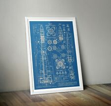 Vostok Blueprints poster A3  A4 A5 Russian Rocket Print - Space Wall Art USSR