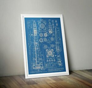 Vostok Blueprints poster A3  A4 A5 Russian Rocket Print - Space Wall Art USSR