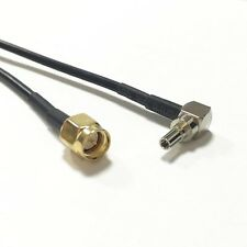 "Sma male plug to Crc9 male Ra angle Rf Pigtail Jumper Rg174 cable 20cm 8"" New"
