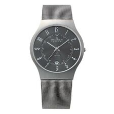 Skagen Authentic Watch 233XLTTM Grey Dial Titanium Stainless Steel Mesh Men's