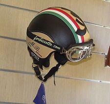 Casco vintage tricolore 150° in pelle bandiera Italiana Italia Vespa Lambretta