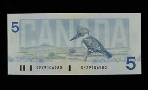 1986 $5 Bank of Canada Banknote GPZ 9106980 Replacement Note Knight Dodge GEMUNC