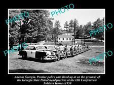 OLD LARGE HISTORIC PHOTO OF ATLANTA GEORGIA POLICE & PATROL CARS LINE-UP c1950
