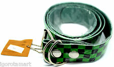 NEW UNISEX BLACK GREEN CHEQUERED LEATHER BELT SILVER BUCKLE VANS PUNK UK POST L