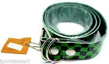Uomo Donna Vans Rock Nero Verde A Scacchi Mix Colori Cintura Cintura in Pelle Girovita Hip