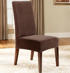 Sure Fit® Stretch Pinstripe Short Dining Chair Slipcover chocolate brown