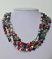 Colorful Crystal Pearl Multi Stone Coral Turquoise Bead 5 Multi Strand Necklace