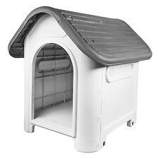 RayGar Plastic Dog Kennel Pet Cat House Weatherproof Indoor Outdoor Shelter Grey