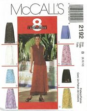 McCall's 2192 EASY Wrap Skirts in 2 Lengths, Overskirt & Side Tie Option Sz 8-12