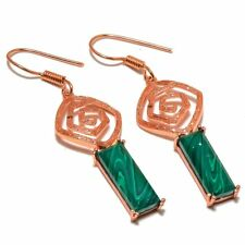 Huge Long Malachite Gemstone Rose Gold Plated Jewelry Earring 2.3""