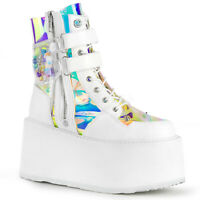 Demonia DAMNED-115 Women's White Vegan Leather Clear Hologram Lace-Up Ankle Boot