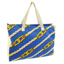 HERMES Shoulder Tote Bag Blue Gold White Cotton Vintage France AK35519f