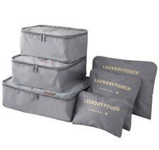 Set of 6 Grey Waterproof Packing Cubes, Travel Pouch, Luggage Organiser, Storage