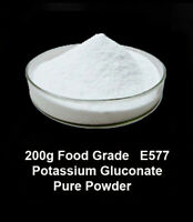 200g   Food Grade Pure Potassium Gluconate  Powder  E577 ,  Vegan, vegetarian