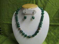 Handmade Green Onyx Stone Necklace Earring Silver Plated Natural Beads Ethnic