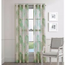 2 J Queen St Croix Grommet Sheer Window Curtain Panels Tropical Palms 100X95